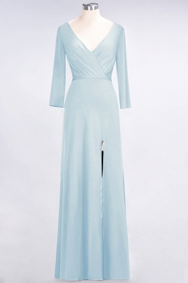 A-line Spandex V-Neck Long-Sleeves Side-Slit Floor-Length Bridesmaid Dress UK with Ruffles_20