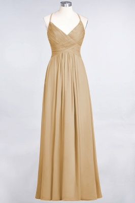 A-line Chiffon Spaghetti-Straps V-Neck Summer Floor-Length Bridesmaid Dress UK with Ruffles_13