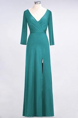 A-line Spandex V-Neck Long-Sleeves Side-Slit Floor-Length Bridesmaid Dress UK with Ruffles_28