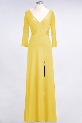 A-line Spandex V-Neck Long-Sleeves Side-Slit Floor-Length Bridesmaid Dress UK with Ruffles_15