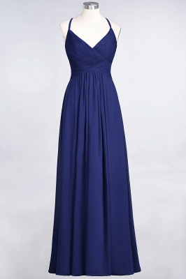 A-line Chiffon Spaghetti-Straps V-Neck Summer Floor-Length Bridesmaid Dress UK with Ruffles_25