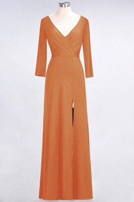 A-line Spandex V-Neck Long-Sleeves Side-Slit Floor-Length Bridesmaid Dress UK with Ruffles_14