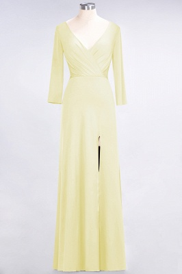 A-line Spandex V-Neck Long-Sleeves Side-Slit Floor-Length Bridesmaid Dress UK with Ruffles_16