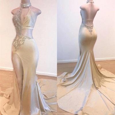 Crystal Halter Side Slit Prom Dresses | A-Line Backless Sleeveless Evening Dresses_3