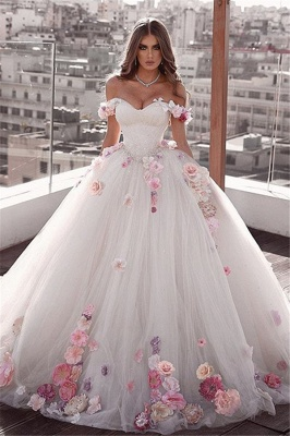 Stylish Off-The-Shoulder Ball-Gown Wedding Dresses with Flower | Bridal Gowns Online_1