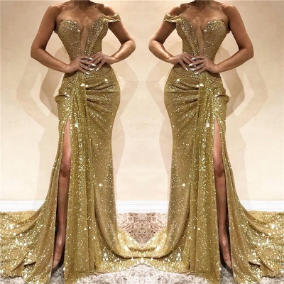 One Shoulder Sexy Side Slit Sequins Evening Dress | Sleeveless Sparkling  Prom Dresses Online_3