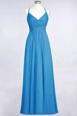 A-line Chiffon Spaghetti-Straps V-Neck Summer Floor-Length Bridesmaid Dress UK with Ruffles_24