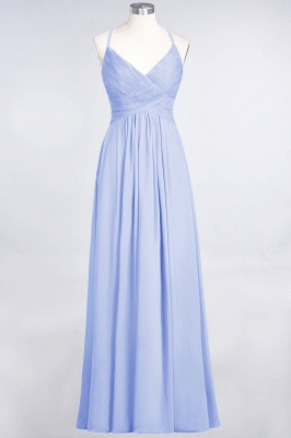 A-line Chiffon Spaghetti-Straps V-Neck Summer Floor-Length Bridesmaid Dress UK with Ruffles_21