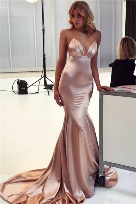 Sexy Spaghetti Straps Mermaid Backless Sleeveless Long Evening Dresses_1