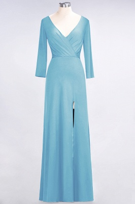 A-line Spandex V-Neck Long-Sleeves Side-Slit Floor-Length Bridesmaid Dress UK with Ruffles_21