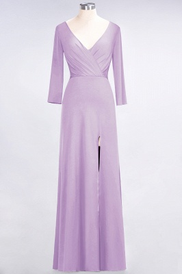 A-line Spandex V-Neck Long-Sleeves Side-Slit Floor-Length Bridesmaid Dress UK with Ruffles_18