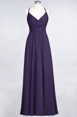 A-line Chiffon Spaghetti-Straps V-Neck Summer Floor-Length Bridesmaid Dress UK with Ruffles_18