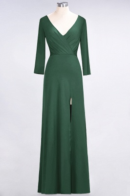 A-line Spandex V-Neck Long-Sleeves Side-Slit Floor-Length Bridesmaid Dress UK with Ruffles_27