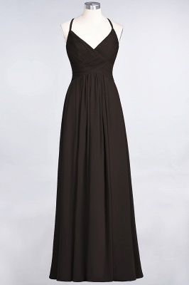 A-line Chiffon Spaghetti-Straps V-Neck Summer Floor-Length Bridesmaid Dress UK with Ruffles_11