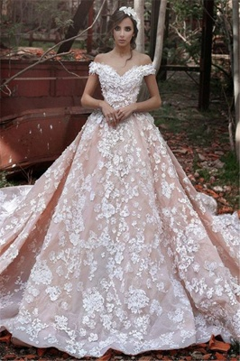 Pink Lace Applique Long Bridal Gown New Off the Shoulder Chapel Train Wedding Dresses BA3863_2
