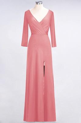 A-line Spandex V-Neck Long-Sleeves Side-Slit Floor-Length Bridesmaid Dress UK with Ruffles_6