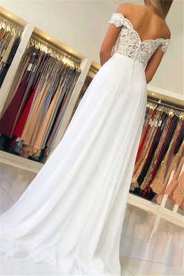 Attractive Off-the-Shoulder Lace A-Line White Wedding Dresses Appliques Sweetheart Bridal Gowns Online_2