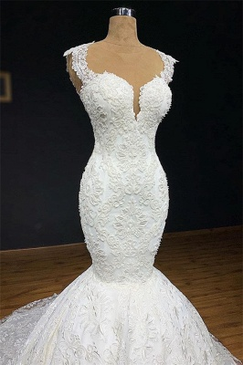Stylish Straps Appliques Backless Mermaid Bridal Gown | Bridal Gowns Online_2