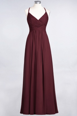 A-line Chiffon Spaghetti-Straps V-Neck Summer Floor-Length Bridesmaid Dress UK with Ruffles_10