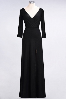 A-line Spandex V-Neck Long-Sleeves Side-Slit Floor-Length Bridesmaid Dress UK with Ruffles_25