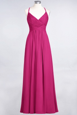A-line Chiffon Spaghetti-Straps V-Neck Summer Floor-Length Bridesmaid Dress UK with Ruffles_9