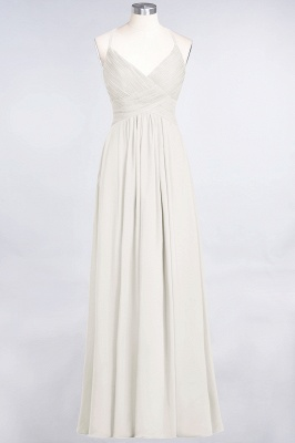 A-line Chiffon Spaghetti-Straps V-Neck Summer Floor-Length Bridesmaid Dress UK with Ruffles_2