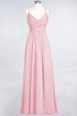 A-line Chiffon Spaghetti-Straps V-Neck Summer Floor-Length Bridesmaid Dress UK with Ruffles_4