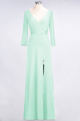A-line Spandex V-Neck Long-Sleeves Side-Slit Floor-Length Bridesmaid Dress UK with Ruffles_30