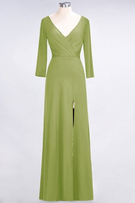 A-line Spandex V-Neck Long-Sleeves Side-Slit Floor-Length Bridesmaid Dress UK with Ruffles_29