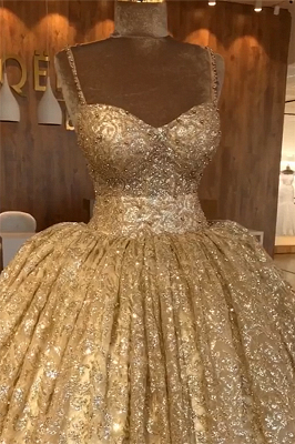 Spaghetti Straps Gold Beaded Lace Evening Dress | Luxury Ball Gown Princess Open Back Prom Dress_3