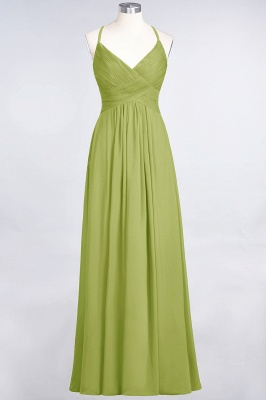 A-line Chiffon Spaghetti-Straps V-Neck Summer Floor-Length Bridesmaid Dress UK with Ruffles_32