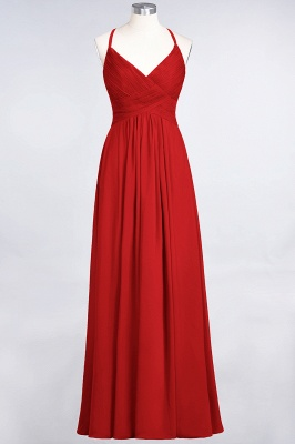 A-line Chiffon Spaghetti-Straps V-Neck Summer Floor-Length Bridesmaid Dress UK with Ruffles_8