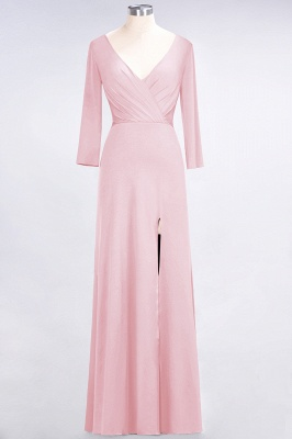 A-line Spandex V-Neck Long-Sleeves Side-Slit Floor-Length Bridesmaid Dress UK with Ruffles_4
