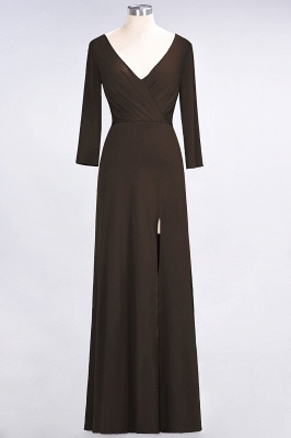 A-line Spandex V-Neck Long-Sleeves Side-Slit Floor-Length Bridesmaid Dress UK with Ruffles_10