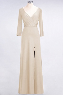 A-line Spandex V-Neck Long-Sleeves Side-Slit Floor-Length Bridesmaid Dress UK with Ruffles_13