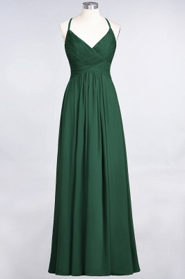A-line Chiffon Spaghetti-Straps V-Neck Summer Floor-Length Bridesmaid Dress UK with Ruffles_30