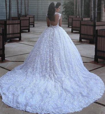 Crystal Lace Ball Gown Wedding Dresses Court Train Beading  Bridal Gowns MH068_4