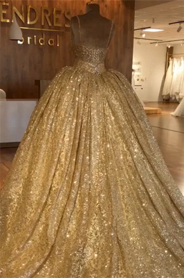 Spaghetti Straps Gold Beaded Lace Evening Dress   Luxury Ball Gown Princess Open Back Prom Dress_2