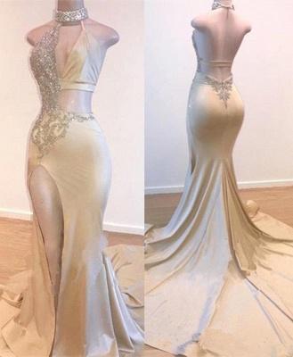 Crystal Halter Side Slit Prom Dresses | A-Line Backless Sleeveless Evening Dresses_2