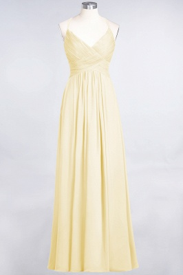 A-line Chiffon Spaghetti-Straps V-Neck Summer Floor-Length Bridesmaid Dress UK with Ruffles_17