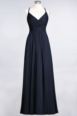 A-line Chiffon Spaghetti-Straps V-Neck Summer Floor-Length Bridesmaid Dress UK with Ruffles_27