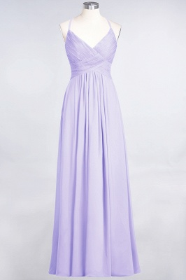 A-line Chiffon Spaghetti-Straps V-Neck Summer Floor-Length Bridesmaid Dress UK with Ruffles_20