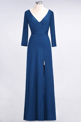 A-line Spandex V-Neck Long-Sleeves Side-Slit Floor-Length Bridesmaid Dress UK with Ruffles_23