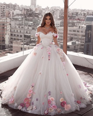Gorgeous Flowers Wedding Dresses Off the Shoulder Bridal Gowns On Sale_2