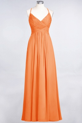A-line Chiffon Spaghetti-Straps V-Neck Summer Floor-Length Bridesmaid Dress UK with Ruffles_15
