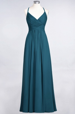 A-line Chiffon Spaghetti-Straps V-Neck Summer Floor-Length Bridesmaid Dress UK with Ruffles_26