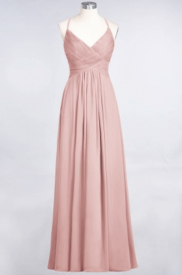 A-line Chiffon Spaghetti-Straps V-Neck Summer Floor-Length Bridesmaid Dress UK with Ruffles_6