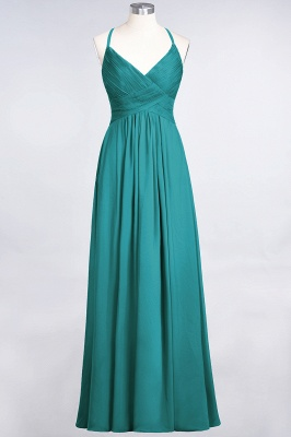 A-line Chiffon Spaghetti-Straps V-Neck Summer Floor-Length Bridesmaid Dress UK with Ruffles_31