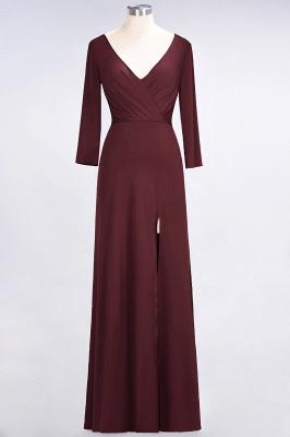 A-line Spandex V-Neck Long-Sleeves Side-Slit Floor-Length Bridesmaid Dress UK with Ruffles_9