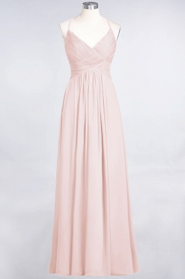 A-line Chiffon Spaghetti-Straps V-Neck Summer Floor-Length Bridesmaid Dress UK with Ruffles_5